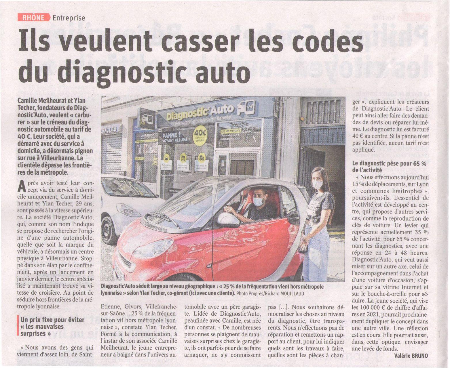 """Article du Progrès """"Ils veulent casser les codes du diagnostic auto"""""""